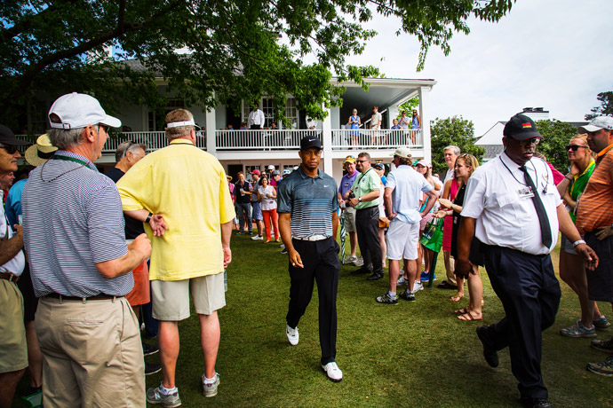 Tiger Woods strolling to the first tee for the third round.