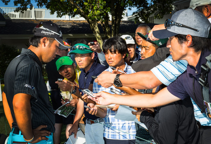 Hideki Matsuyama speaks with the Japanese media Saturday at Augusta.
