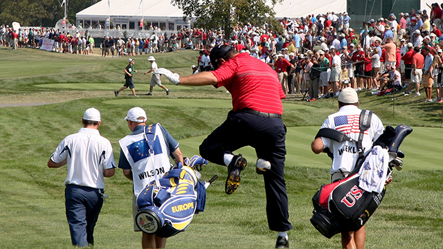 Boo Weekley of the USA team clowns around as he walks off the first tee during the singles matches on the final day of the 2008 Ryder Cup at Valhalla Golf Club.