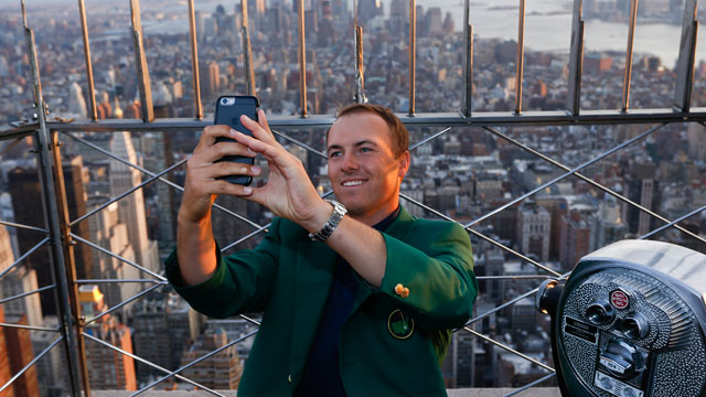 Jordan Spieth takes a selfie from atop the Empire State Building.