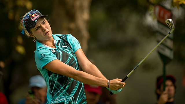Lexi Thompson plays a tee shot at the fourth hole during the first round of the 2014 Lorena Ochoa Invitational.
