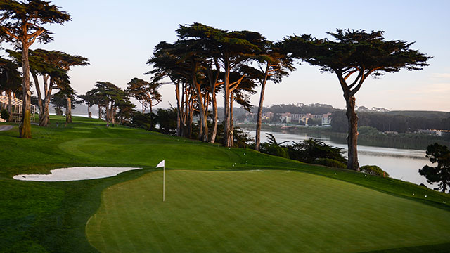 A general view of the green on the par 3 17th hole, which will play as the 13th hole during the 2015 World Golf Championships-Cadillac Match Play, at TPC Harding Park on March 29, 2015 in San Francisco, California.