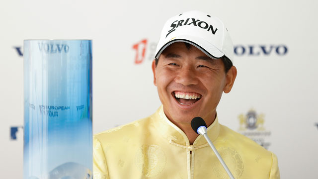 u Ashun of China speaks to the media during a news conference after winning the Volvo China Open at Tomson Shanghai Pudong Golf Club on April 26, 2015 in Shanghai, China.