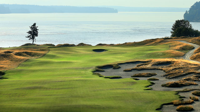 The 465 yards par 4, 5th hole at Chambers Bay Golf Course the venue for the 2015 US Open Championship on August 12, 2014 in University Place, Washington.