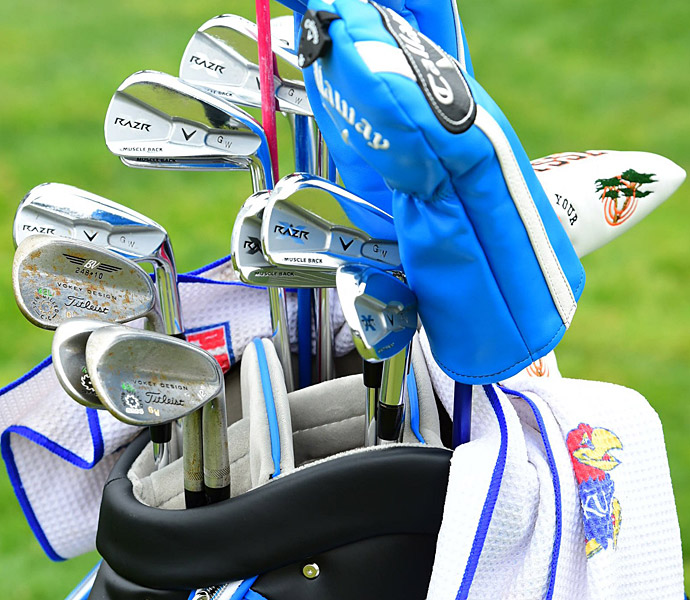 Gary Woodland uses Callaway RAZR X Muscleback irons.