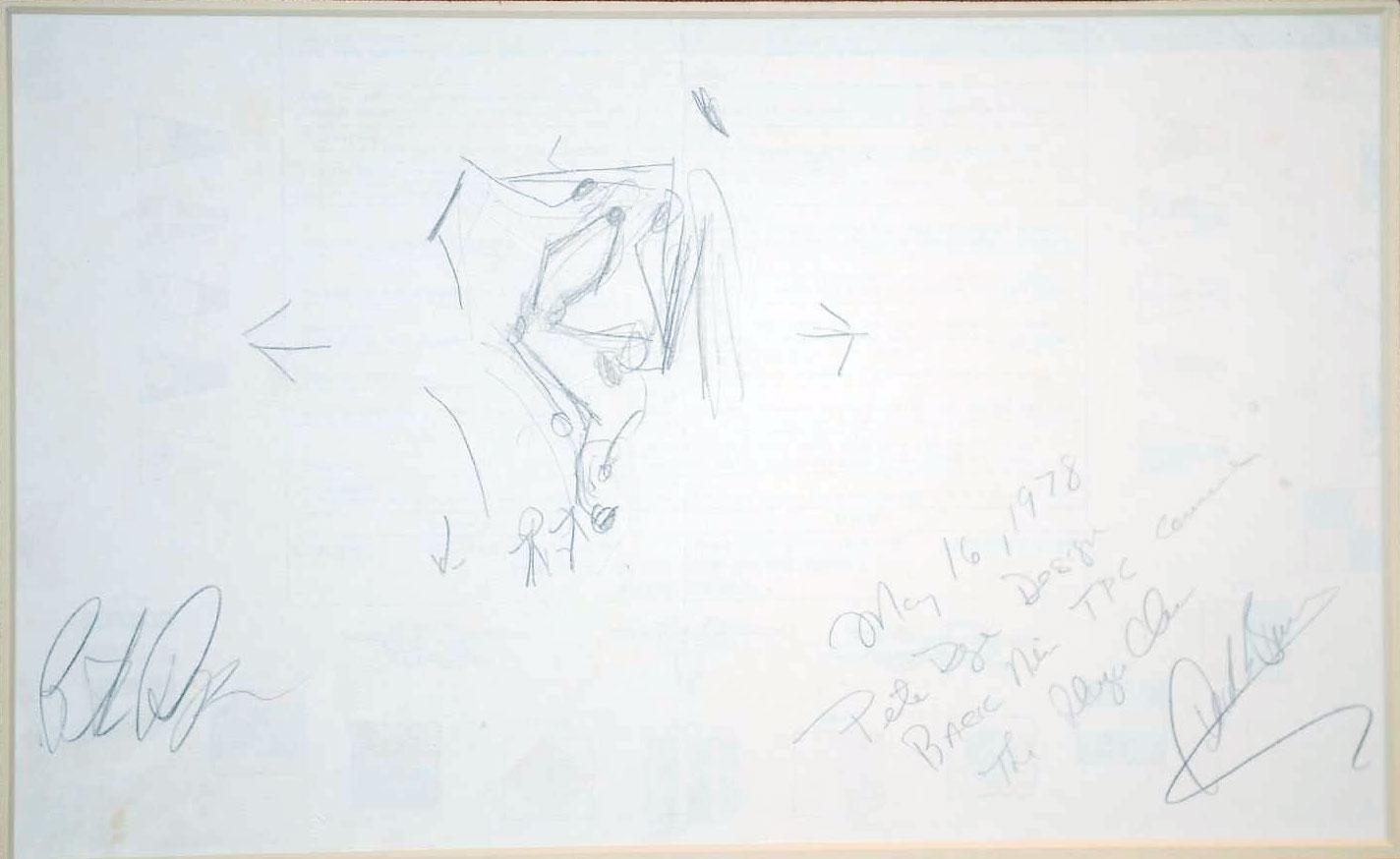 Pete Dye's original sketch of the back nine at TPC Sawgrass.
