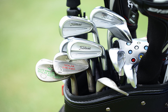 Robert Streb's bag has Titleist CB 714 irons and two Titleist Vokey Design wedges stamped with quotes from the movie Step Brothers, starring Will Ferrell.
