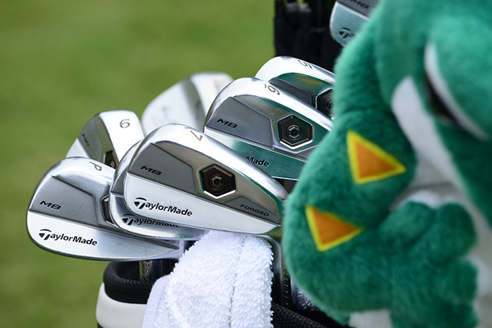 Along with his familiar lizard headcover, John Senden's bag is full of TaylorMade MB Forged irons.