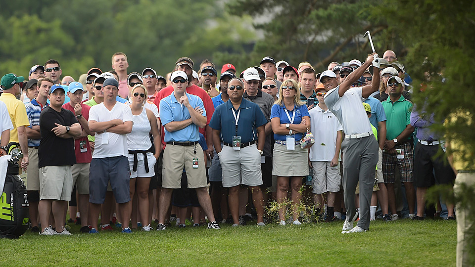 Tiger Woods shot a one-over 73 on day one at the 2015 Memorial.