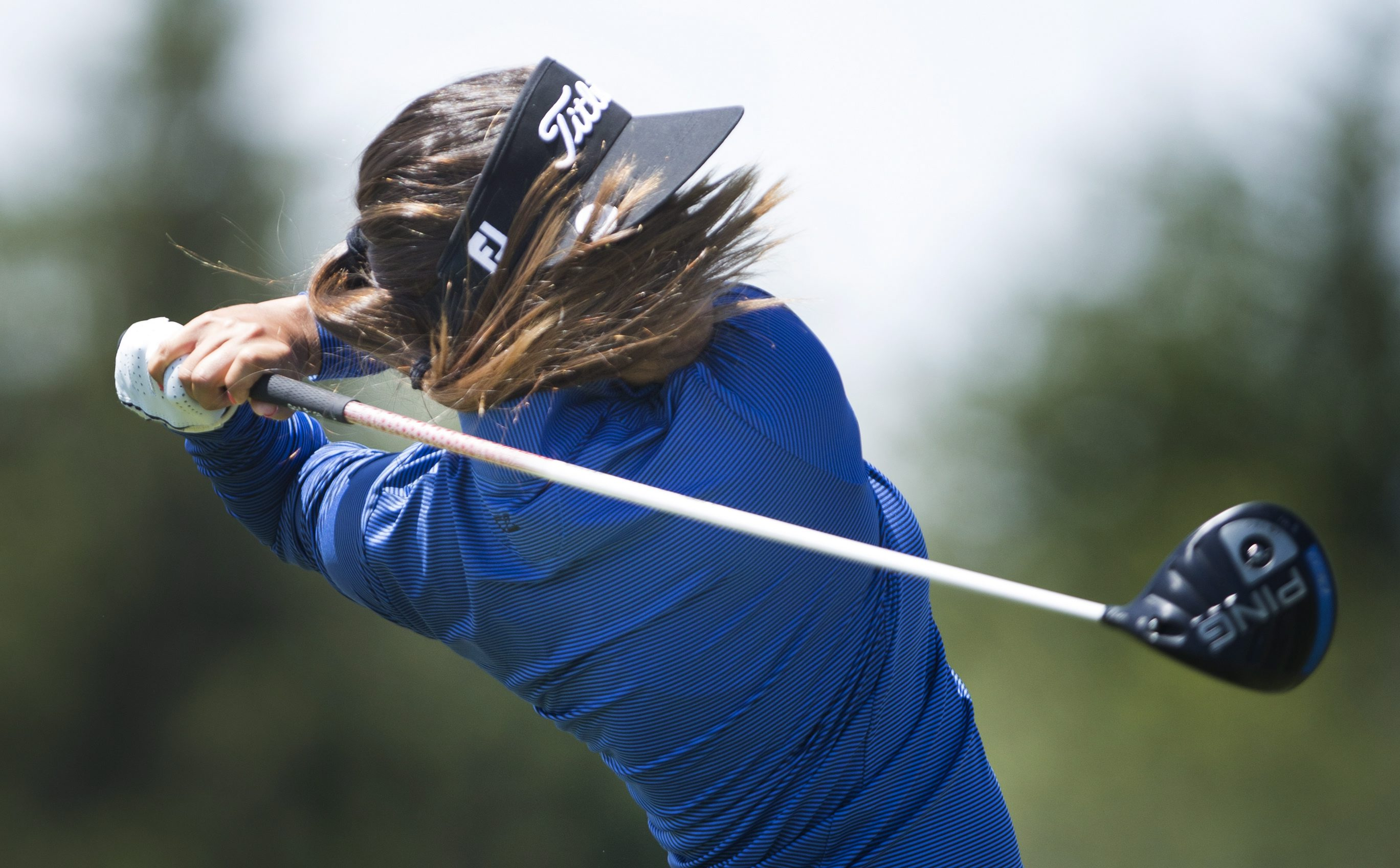 Mariajo Uribe, of Colombia, hits off the sixth tee during the third round of the 2015 Manulife LPGA Classic, Saturday, June 6, 2015 in Cambridge, Ontario. (Peter Power/The Canadian Press via AP) MANDATORY