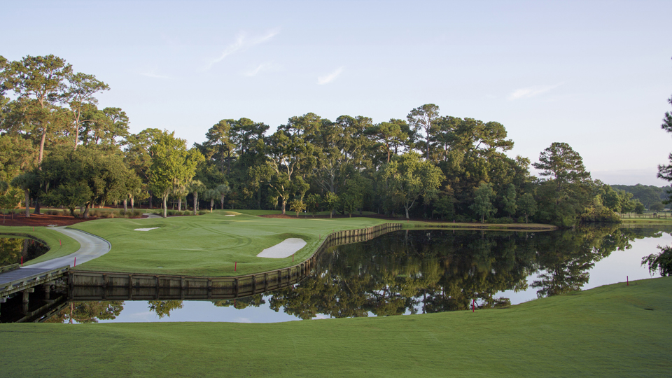 The fourth hole at Heron Point, which is also at Sea Pines, leaves no room for error to the right.