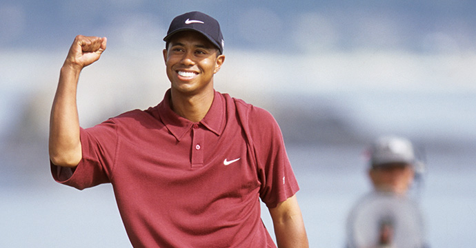 Tiger Woods victorious after winning the 2000 U.S. Open at Pebble Beach.