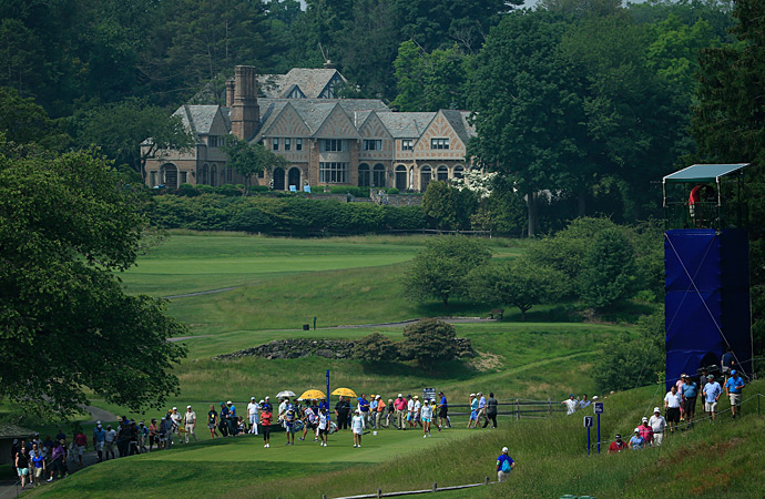 A view of the seventh tee at Westchester Country Club during the first round.