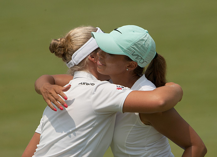 Brooke Henderson and Cheyenne Woods after their second rounds.
