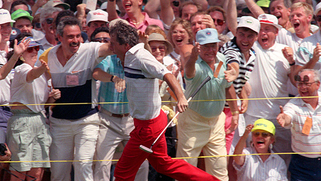 Hale Irwin did a celebratory lap after holing a bomb for birdie on the 72nd hole.