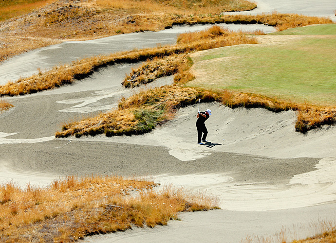 Branden Grace stuck in one of the giant waste bunkers at Chambers Bay.