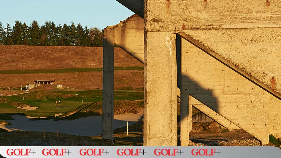 Large bins line the 18th hole and serve as remnants of the old sand and gravel quarry.