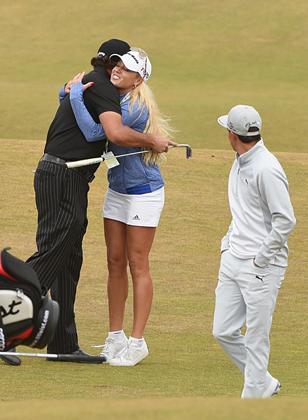 LPGA Tour star Natalie Gulbis watched Mickelson and Fowler's practice round on Tuesday.
