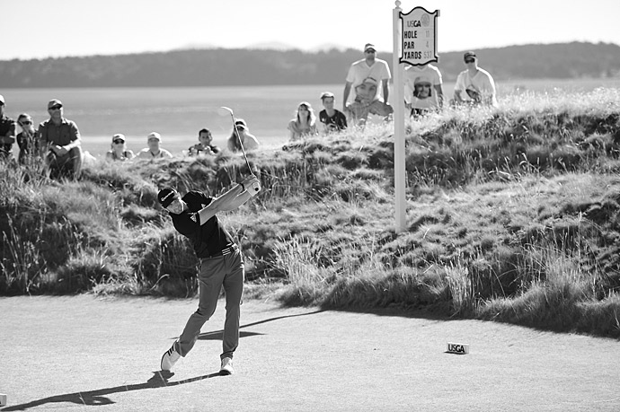 Dustin Johnson battled for the lead all day on Friday, finishing one back at four under.
