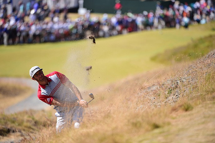 Dustin Johnson had an up-and-down round that left him at four under for the tournament, even for the day.