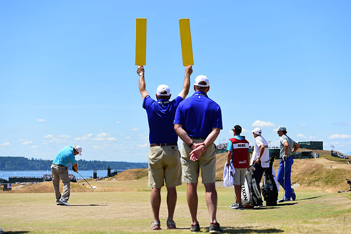 J.B. Holmes on the first tee.