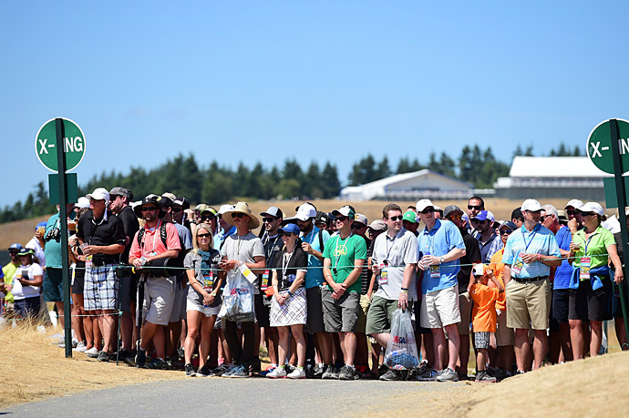 Fans gathered on the course on Saturday.