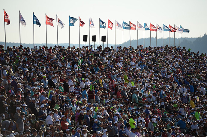 Fans packed the grandstands surrounding the 18th green.