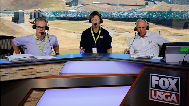 Joe Buck, Brad Faxon and Greg Norman rehearse before the first round of the U.S. Open.