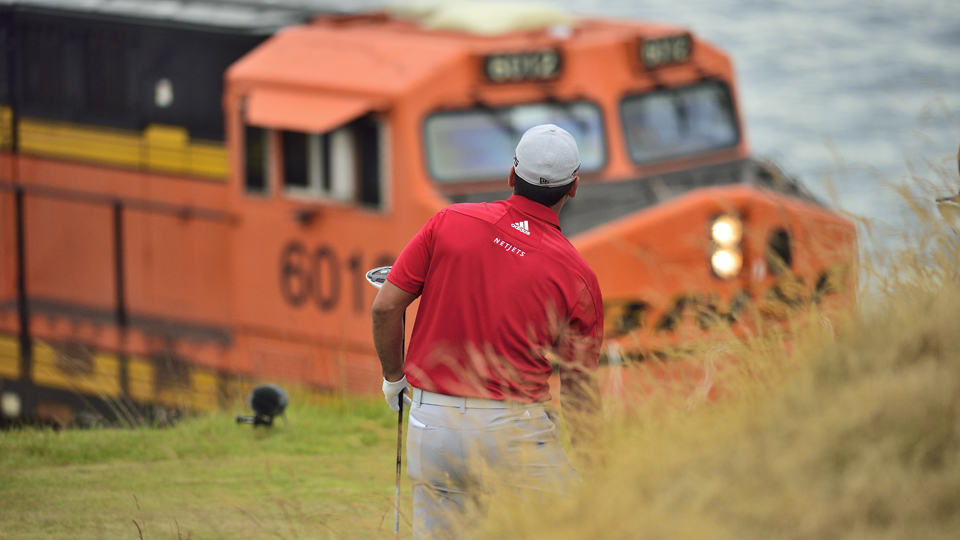 Among the charms of Chambers Bay were the trains that whistled between the course and Puget Sound.