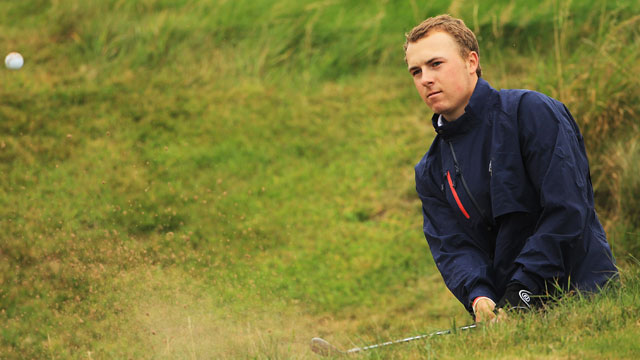 Jordan Spieth plays out of a bunker on the 6th hole during the final day of practice as a preview of the 2011 Walker Cup.