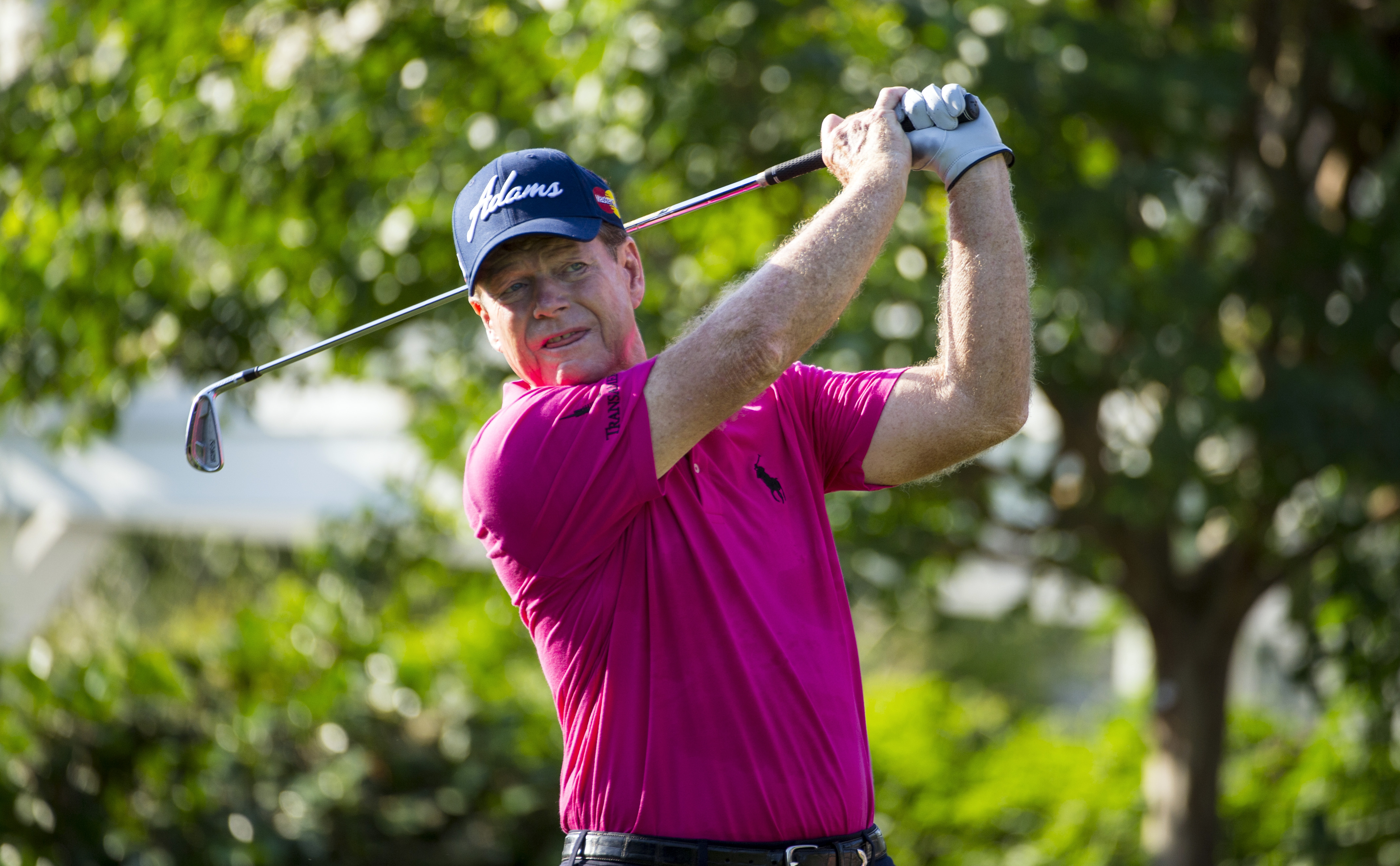 Tom Watson watches his tee shot on the 10th hole during the first round round of the 2015 U.S. Senior Open.