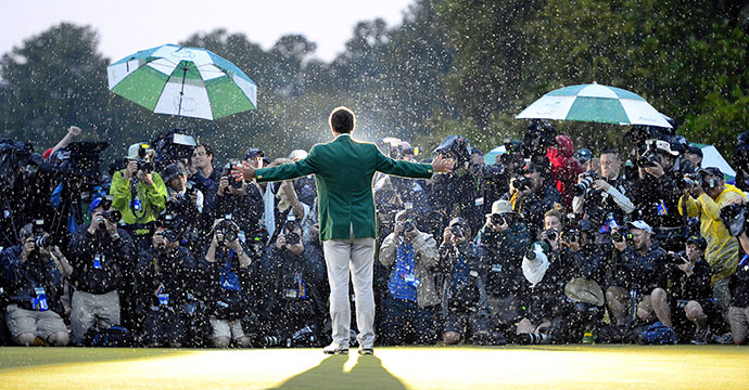 Adam Scott of Australia celebrates winning the 2013 Masters golf tournament at the Augusta National Golf Club in Augusta, Georgia.