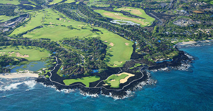 An aerial view of the Four Seasons Resort Hualalai Golf Course, Big Island, Kona, Hawaii.