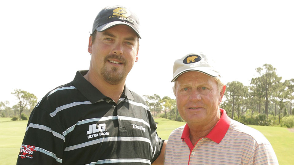 Sean Fister and Jack Nicklaus pose for a picture on the driving range during the Laureus Sport for Good Foundation USA Celebrity Golf Invitational at the Bear's Club May 7, 2006 in Palm Beach, Florida.