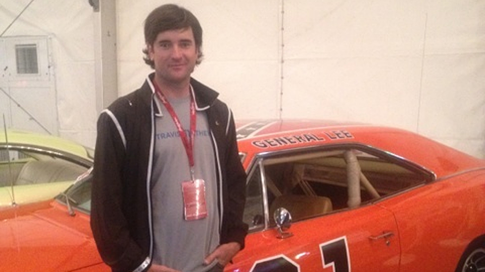 Bubba Watson with the General Lee after buying it at auction in 2012.