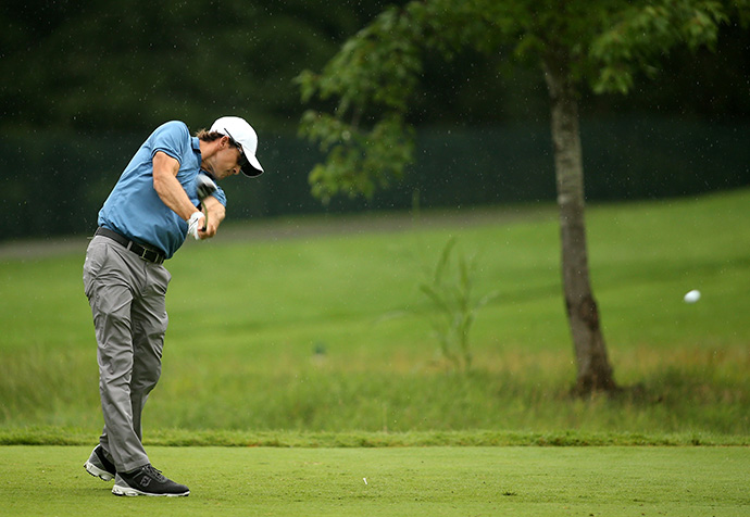 Scott Langley tees off on the fifth hole during the second round of the Greenbrier Classic.