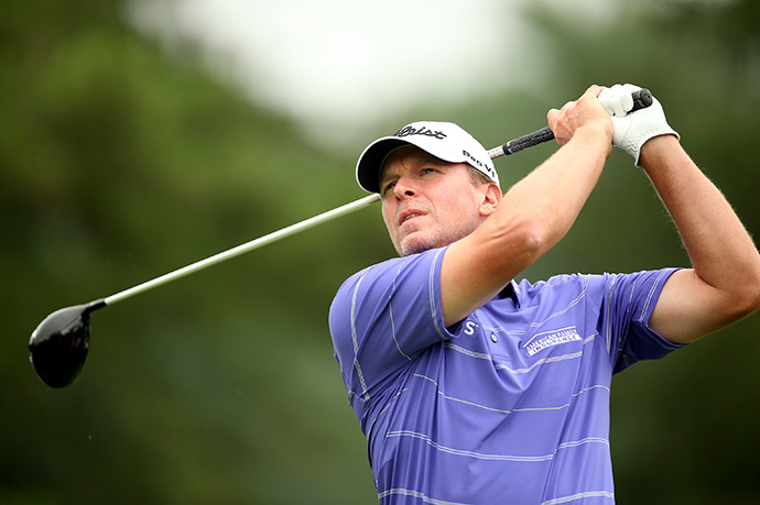 Steve Stricker tees off on the 11th hole during the Round 2 of the Greenbrier Classic.