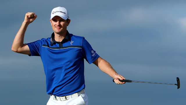 Justin Rose celebrates on the 18th green after winning the Aberdeen Asset Management Scottish Open at Royal Aberdeen on July 13, 2014 in Aberdeen, Scotland.