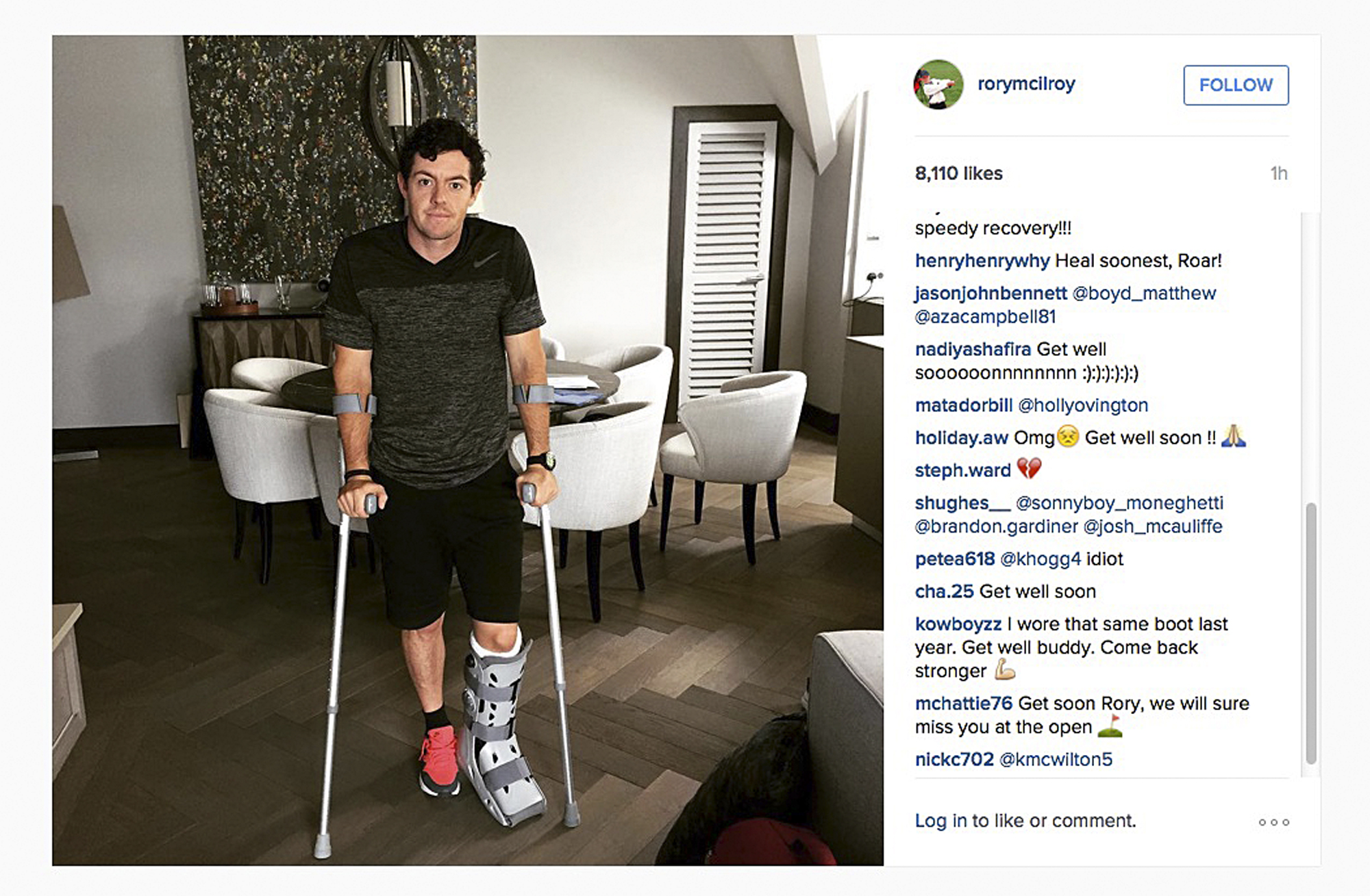 In this image released Monday July 6, 2015 by world number one golfer Rory Mcilroy shows him as he poses on crutches and with his left leg in a medical support.