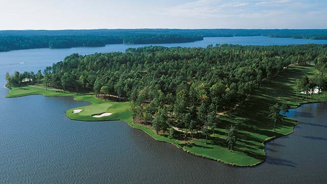 Holes 14 and 15 at the Jack Nicklaus-designed Great Waters course at Reynolds Plantation.