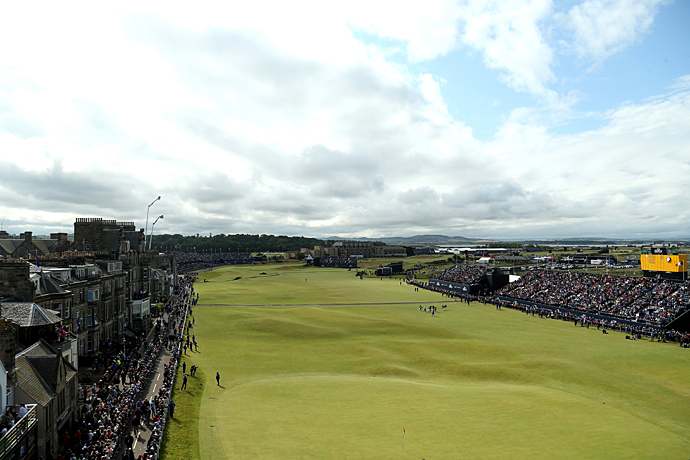 The 18th green and 1st fairway at the Old Course on Wednesday.