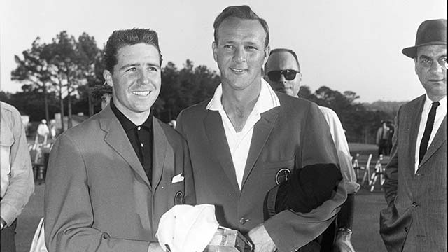At the presentation ceremony for the '62 Masters, Player smiled gamely despite having been nipped by Palmer.