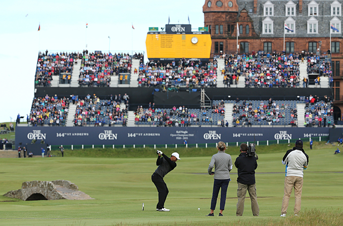 Woods teeing off on the 18th hole. The annual Champion Golfers' Challenge pits former Open champs against one another.