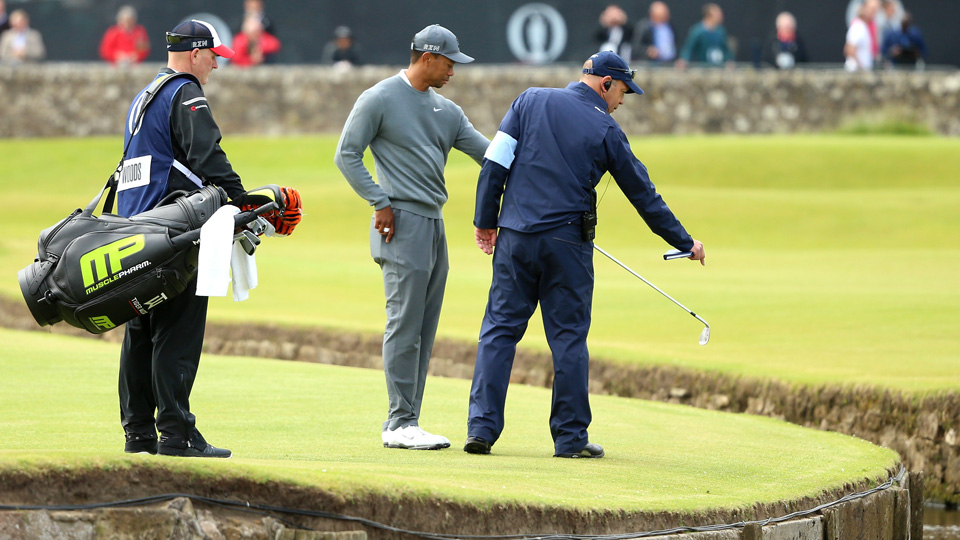 Tiger Woods' second shot of the day found the water on Thursday. It didn't get much better after that for the 14-time major winner.