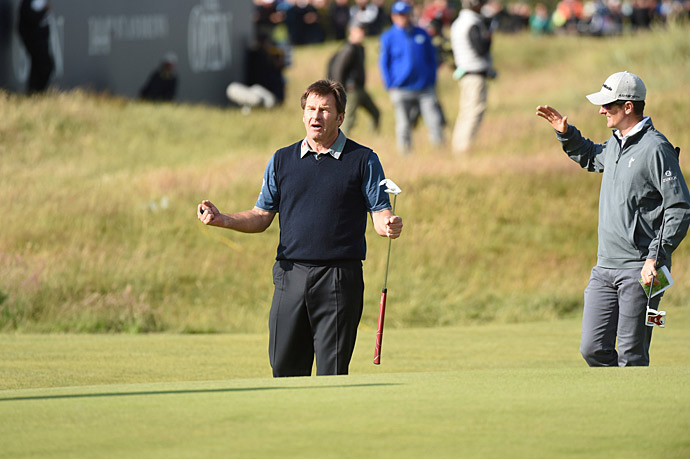 Nick Faldo made a long birdie putt on the 17th hole but still missed the cut.