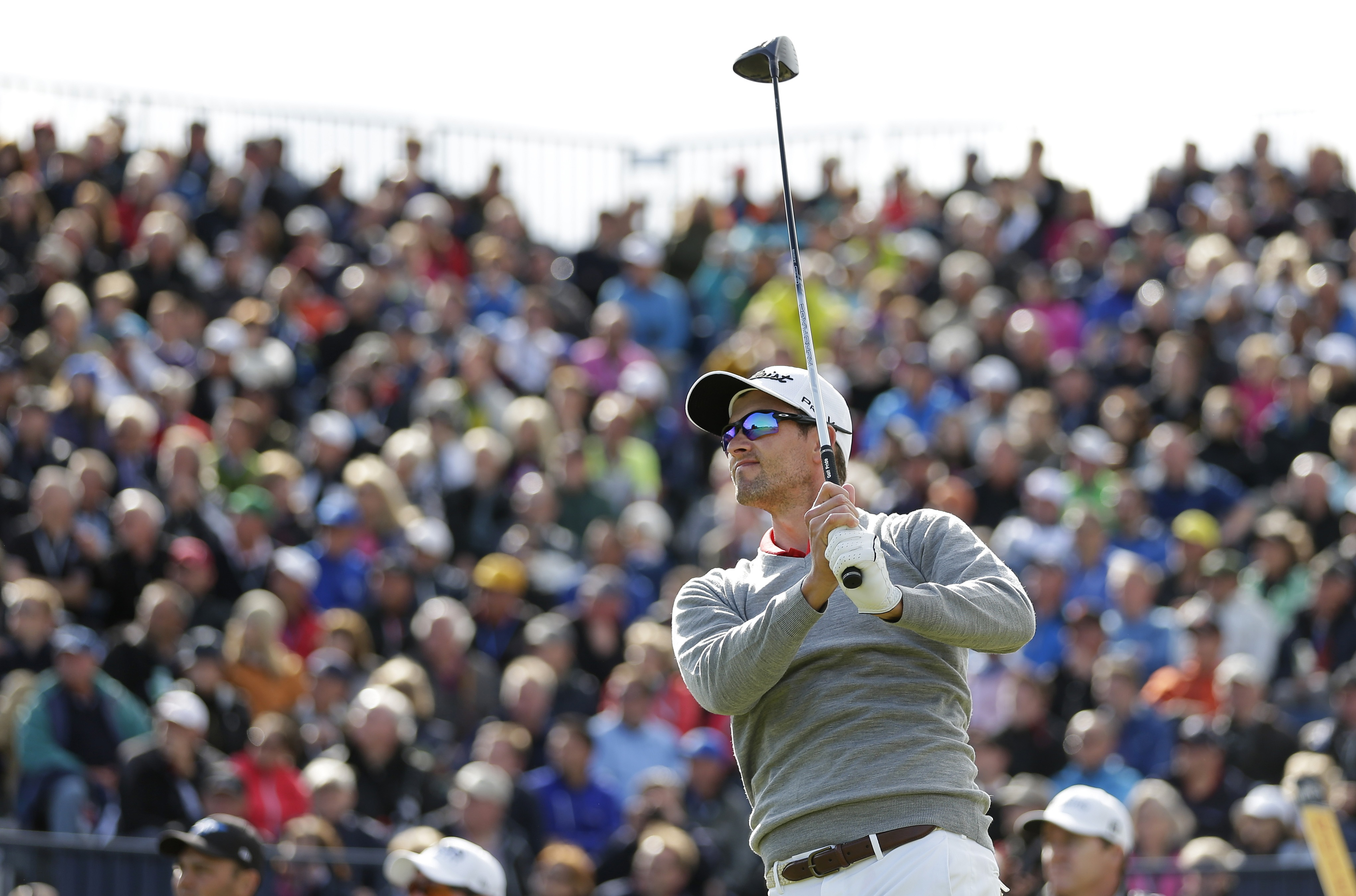 Adam Scott drives the ball from the 17th tee during the second round of the British Open