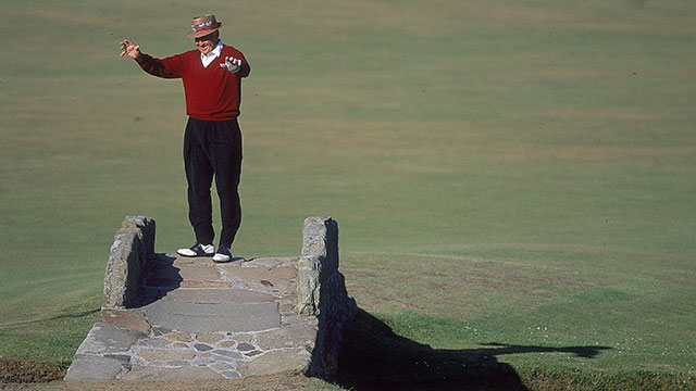 Sam Snead dances on the Swilken bridge during the final practice round of the British Open Golf Championship at the St Andrews Links Old Course, in Fife, Scotland
