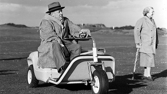 Legendary American golfer Bobby Jones is pictured in his special golf buggy after receiving the Freedom of St Andrews