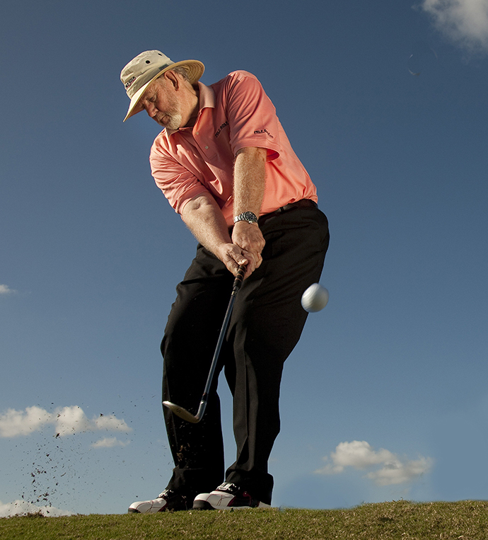 Extend your left arm at impact for wedges that never miss.