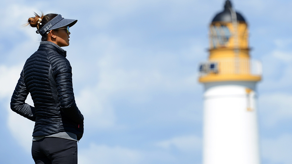 Michelle Wie waits on the 9th hole during a practice round prior to the Ricoh Women's British Open at Turnberry Golf Club on July 29, 2015, in Turnberry, Scotland.